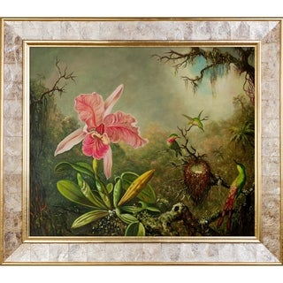 Martin Johnson Heade 'Cattleya Orchid and Three Hummingbirds, 1871' Hand Painted Framed Canvas Art