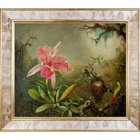 Martin Johnson Heade 'Cattleya Orchid and Three Hummingbirds, 1871' Hand Painted Framed Canvas Art