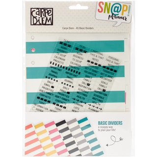 Carpe Diem A5 Basic Tabbed Dividers 6/Pkg W/108 Clear Label Stickers