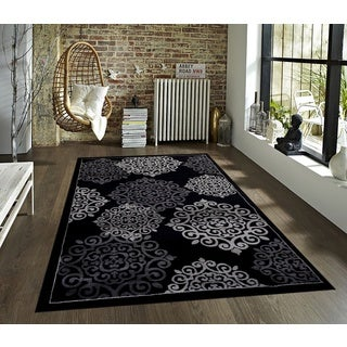 Persian Floral Collection Black Polypropylene Rug (8' x 10')