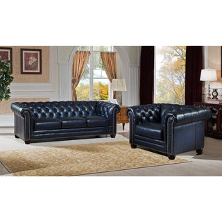 Nebraska Genuine Hand Rubbed Blue Leather Chesterfield Sofa and Chair Set