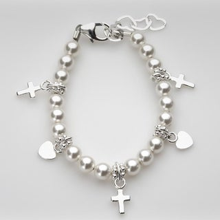 Crystal Dream Luxury White Swarovski Pearls and Sterling Silver Charms Infant Girl Bracelet