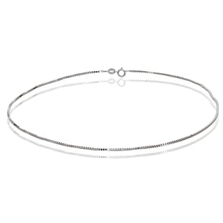 Mondevio 14k White Gold .6mm Box Italian Chain Anklet, 9 Inches