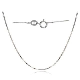 Mondevio 14k White Gold 0.6mm Box Italian Chain Necklace, 16 Inches
