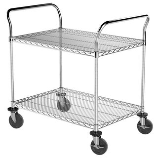 Akro-Mill 24-inch x 36-inch Wire Rolling Cart With 2 Shelves