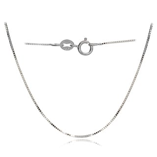Mondevio 14k White Gold .6mm Box Italian Chain Necklace, 18 Inches