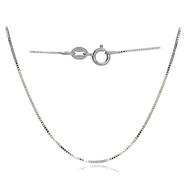 Solid 14k White Gold Chain 14kt box necklace  **HIGH QUALITY** 0.6mm Spring Ring