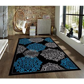 Modern Trendz Collection Turquoise/White Polypropylene Persian Rug (5' x 7')