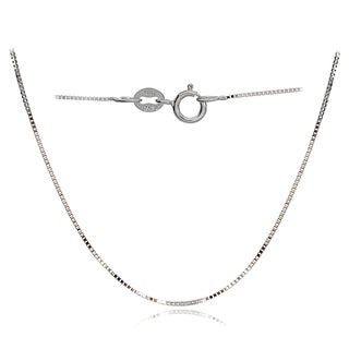 Mondevio 14k White Gold .6mm Italian Box Chain 24-inch Necklace