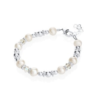 Luxury White Cultured Fresh Water Pearl & Swarovski Crystal Baby Bracelet
