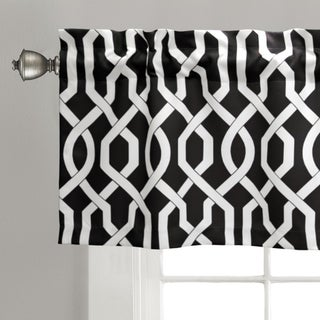 Lush Decor Edward Blue/Black/Grey Trellis Room Darkening Valance
