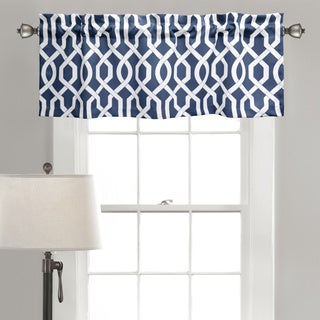 Lush Decor Edward Blue/Black/Grey Polyester Trellis Room Darkening Valance