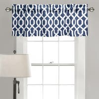 Lush Decor Edward Blue/Black/Grey Trellis Room Darkening Valance - M