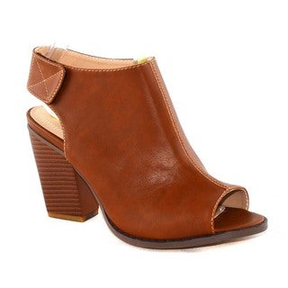 Chase & Chloe Women's Faux Leather Peep Toe Ankle Booties