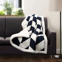 Lush Decor Jigsaw Chevron Sherpa Throw