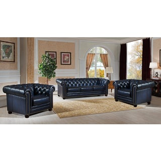 Nebraska Genuine Hand Rubbed Blue Leather Chesterfield Sofa and Two Chair Set