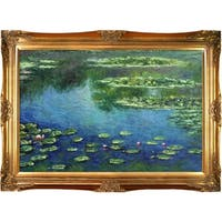 Claude Monet 'Water Lilies' Hand Painted Framed Canvas Art