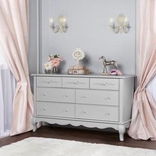 Evolur Aurora Grey Wood 7-Drawer Double Dresser