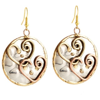Handmade Artisan Tri-color Stainless Steel Mixed Metals Heart Dangle Earrings (India)
