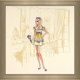 Robert Best 'Yellow Nightgown Barbie' Framed Fashion Wall Decor