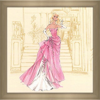 Robert Best 'Pink gown with White Polka Dots Barbie' Framed Fashion Wall Decor