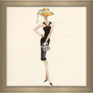 Robert Best 'Barbie in Black Dress with Straw Hat' Framed Fashion Wall Decor