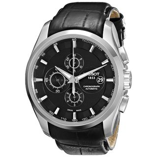 Tissot Men's T0356271605100 'Couturier' Chronograph Automatic Black Leather Watch