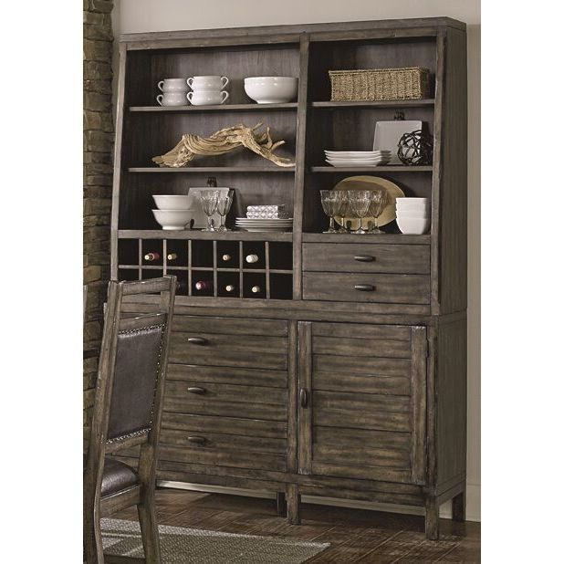 Progressive International Distressed Brown Wooden Hutch a...