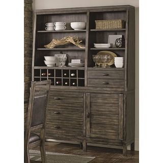 Distressed Brown Wooden Hutch and Buffet