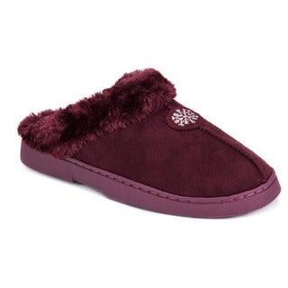 Muk Luks Women's Red Polyester and Faux Suede Clog With Faux Fur Lining