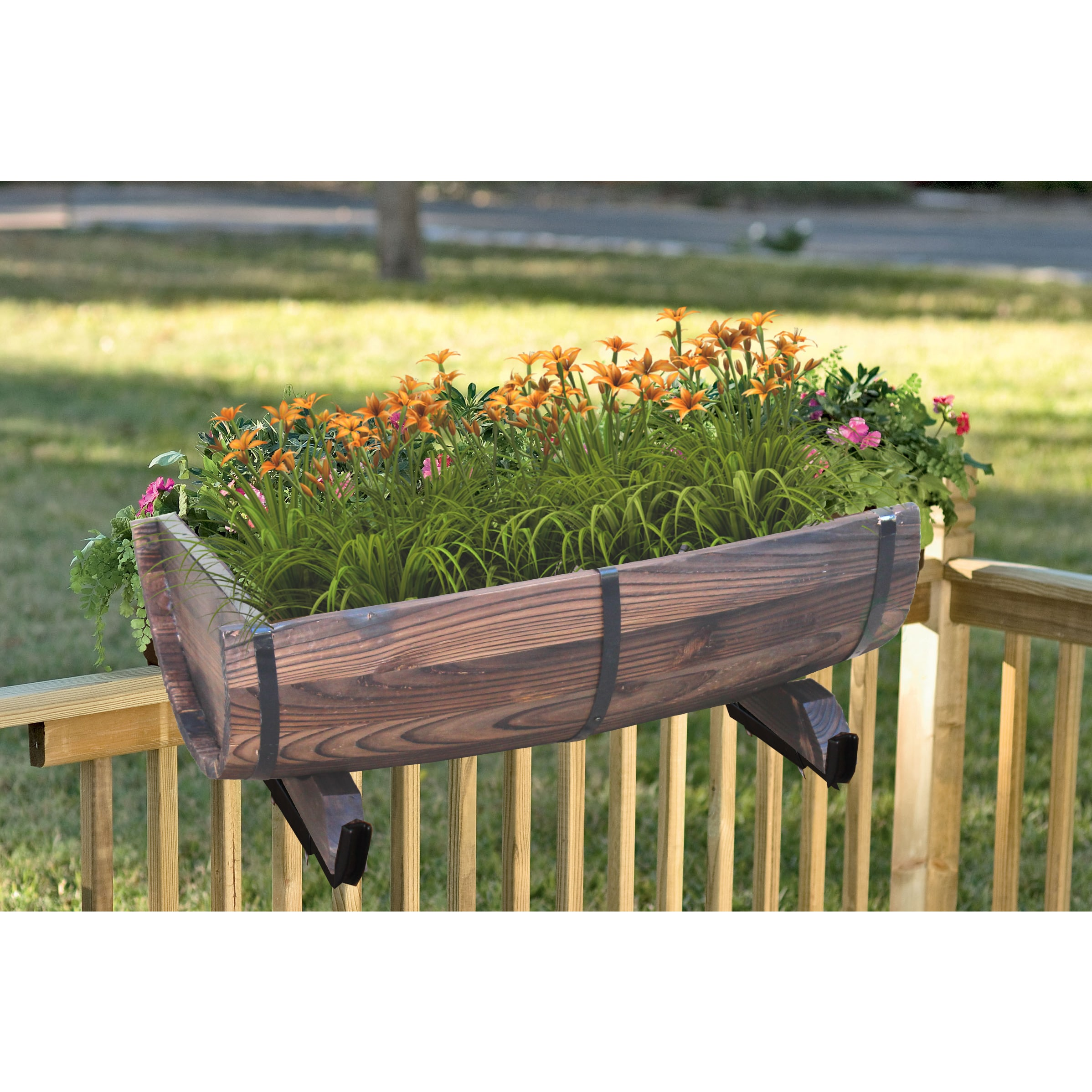 Half Barrel Brown Wood Adjustable Deck Railing Planter (H...