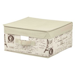 Paris Collection Tan Linen Non-woven Small Storage Box with Lid