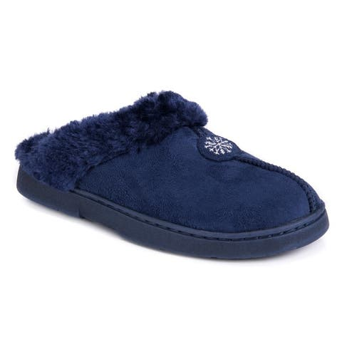 Muk Luks Womens Blue Polyester/Faux Suede Clog with Fur Lining