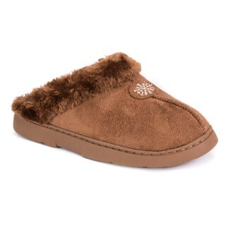 Muk Luks Women's Brown Polyester/Faux Suede Clog with Fur Lining