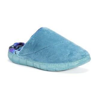 Muk Luks Women's Gretta Blue/Green Polyester Slippers
