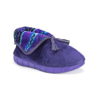 Muk Luks Women's Porchia Purple Fleece Slippers