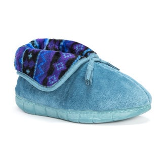 MUK LUKS Women's Porchia Blue/Green Fleece Slippers
