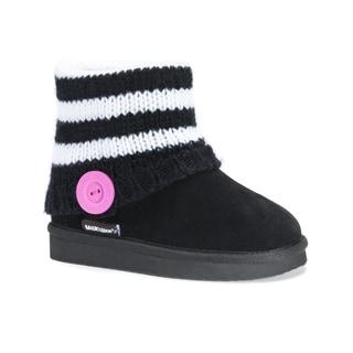 Muk Luks Girls' Patti Black Polyester/Faux Suede Boots