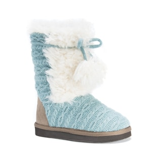 MUK LUKS Girls' Blue Faux Fur Jewel Boots