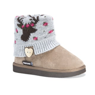 Muk Luks Girls Patti Grey Polyester/Faux Suede Boots