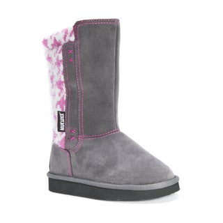 Muk Luks Girls' Stacy Grey Polyester/Faux Suede/Faux Fur Boots