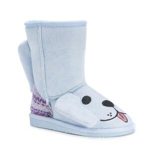 Muk Luks Girls' Bosco Blue Polyester/Faux Fur Puppy Boots