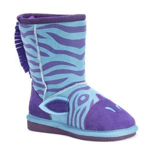 Muk Luks Girls' Zeb Blue Polyester and Faux Fur Zebra Boots
