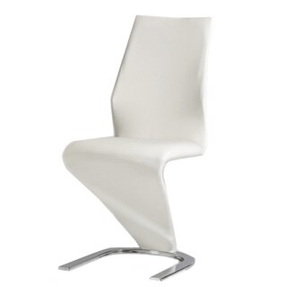 Casabianca Home Boulevard Collection White Eco-Leather and Chrome Dining Chair