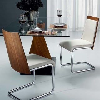 Casabianca Home Modelo Collection White Eco-leather/Walnut Veneer Dining Chair