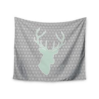 """Kess InHouse Pellerina Design """"Winter Deer"""" Gray Green Wall Tapestry 51'' x 60''"""