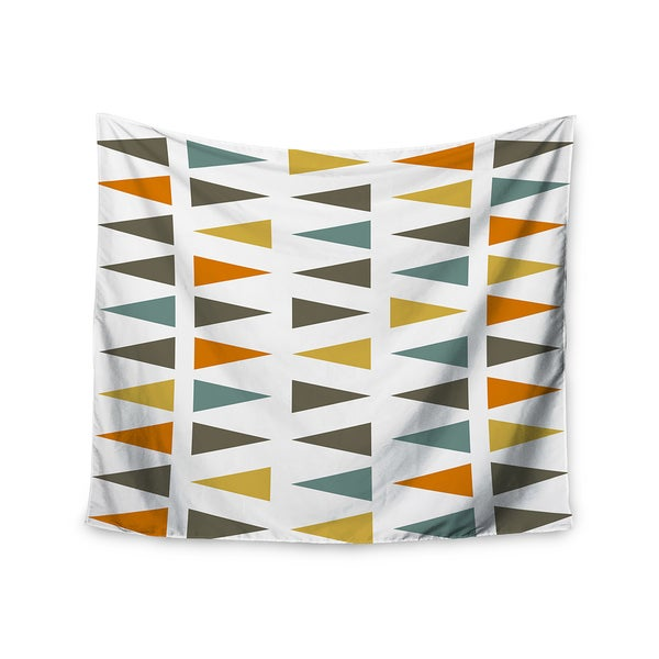 "Kess InHouse Pellerina Design ""Stacked Geo"" White Triangles Wall Tapestry 51'' x 60''"
