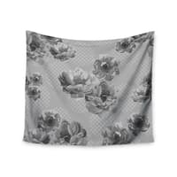 """Kess InHouse Pellerina Design """"Lace Peony in Gray"""" Grey Floral Wall Tapestry 51'' x 60''"""