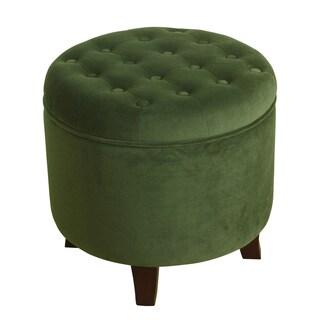 HomePop Velvet Round Storage Ottoman Forest Green