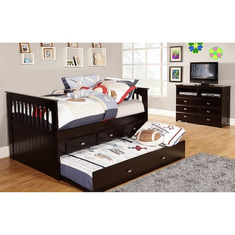 Twin Rake Bed with Three Drawers and Matching Entertainment Dresser